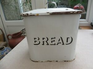 Antique enamel lidded bread bin metal white with black accents heavy quality