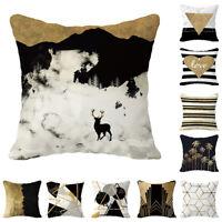 "18"" Home Square Geometric Zipped Cushion Cover Pillowcase Protectors Throw"