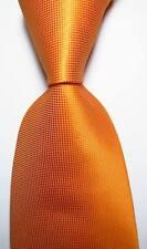 New Classic Checks Orange White JACQUARD WOVEN 100% Silk Men's Tie Necktie