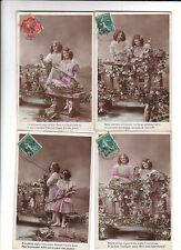 carte postale. Bouquet de Fleurs. Lot de 4 cartes 1906