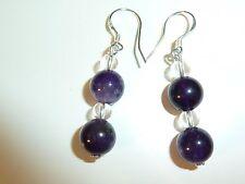 Boucles D'oreilles Perles D'amethyste D'uruguay-Quartz  Monture En Argent 925