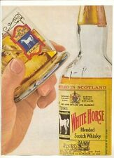 1964 Vintage Playboy Print Ad WHITE HORSE BLENDED SCOTCH WHISKY Bottle and Glass