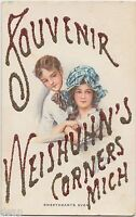 c1910 NEISHUHN'S CORNERS Michigan Mich Postcard Glitter Souvenir Children