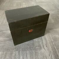 Antique Wooden 7x4x5 Index Card File Box Hinged Dovetail Vintage Recipe Storage
