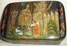"Russian Lacquer box Palekh fairy tale "" Geese-Swans "" miniature Hand Painted"