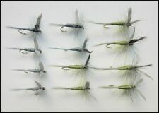 Dry Trout flies, 12 Pack Olive & Blue Dun, Mixed Size 12/14/16, For Fly Fishing