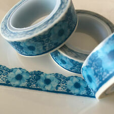 WASHI TAPE BLUE FLORAL LACE 15MM WIDE X 10MTR ROLL SCRAP PLAN CRAFT WRAP