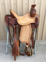 """Western Brown/Natural Leather Roper Ranch Saddle with Strings 15"""",16"""", 17"""", 18"""","""