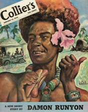 """1944 COLLIER'S COVER """"NEW GUINEA HOT DOGS"""" VINTAGE ORIGINAL LAMINATED AD ART"""
