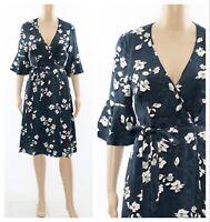 ex Monsoon Navy Magnolias Floral Print Jacquard Tea Occasion Dress RRP £75