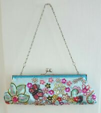New Beautiful Butterfly & Floral Evening/Prom Handbagin Blue-Multi, Clasp top