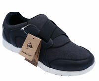 MENS BLACK DUNLOP SLIP-ON MEMORY FOAM ELASTIC CASUAL SPORTS TRAINERS SHOES 7-11
