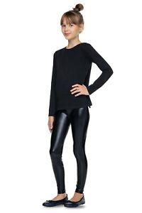 Girl's Full Length Shiny Latex Leggings Kids Wet Look Children Pants LTXK