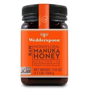 Lot of 2 Wedderspoon RAW MANUKA HONEY new K FACTOR 16  17.6 ounces each