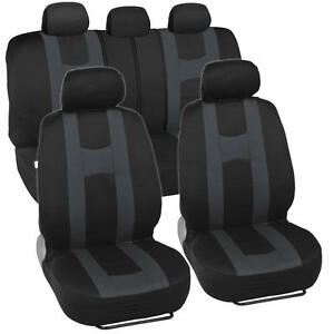 Car Seat Covers Sport Stripe Black & Charcoal Gray Front and Rear Bench Full Set