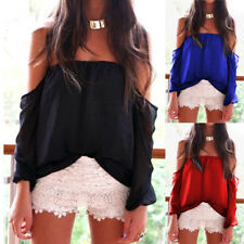 Womens Off Shoulder Tops Summer Casual Ruffle Long Sleeve Loose T Shirt Blouse