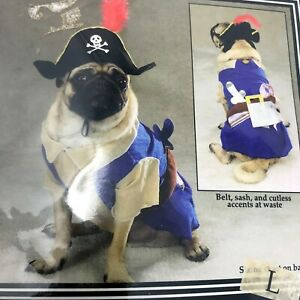 Zack & Zoey Dog Costume sz Lg. Halloween Pirate Pup Hat Feather