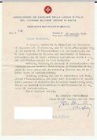 ASSOCIAZIONE CAVALIERI ORDINE DI MALTA - BARONE BENEVENTANO - SIRACUSA 28/1/1958