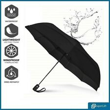 Brown Umbrella Auto Open & Close Windproof Travel Compact Folding Mens Womens UK