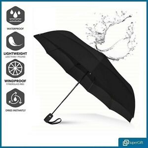 Black Umbrella Auto Open & Close Windproof Travel Compact Folding Mens Womens UK