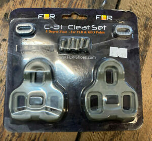 FLR Cleat Set Clipless Road Pedals Look KEO Compatible. 5 Degree Float Grey NEW
