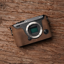 Genuine Real Leather Half Camera Case Bag Cover for FUJIFILM XE3 X-E3 Dark Brown