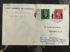 1937 Lerwick England to Aberdeen airmail First Flight Cover Ffc Forwarded