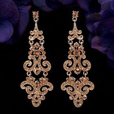 Rose Gold Plated Peach Crystal Rhinestone Chandelier Drop Dangle Earrings 08903