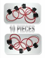 10 Pack 14 AWG Gauge 12 Volt ATC Fuse Holder Copper Wire Cable Auto Scosche