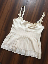 WHISTLES Ivory Beaded Pleated Front 100% Silk Strappy Cami Vest Top UK10