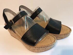 Born Black Leather Maldives Sandals W/cork Wrap Women 10/42