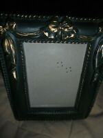 "Vtg Green-Gold Ornate 3""x 4.5"" Photo Picture Frame Free-standing or Wall Hang 60"