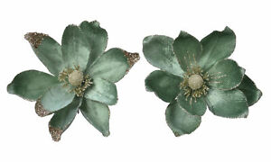 NEW IN Beautiful Sage Green Magnolia Clip On Flower Christmas Tree Decoration x3
