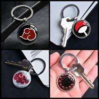 Naruto Akatsuki Uchiha Keychain Pendants Glass Keychains Gifts Silver Keyring