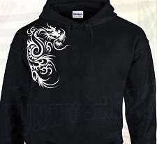 SWEAT A CAPUCHE DRAGON TRIBAL Tattoo Japonais Tatouage Chinois Monstre Asiatique