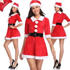 Women's Mrs Santa Claus Set Party Costume Christmas Push Up Bustier Corset Top