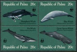 PALAU - 1983 WWF 'GREAT WHALES' Block of 4 MNH SG25-28 [B4241]
