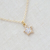 """14k Yellow Gold Over Tiny Star Diamond Pendant Necklace With 18"""" Chain"""
