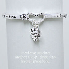 Mother Daughter Charm Bracelet SILVER Everlasting Inspirational Message Jewelry