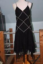 Philip Dicaprio 20s Style Flapper Dress Black Silk Handkerchief Panels Size 10