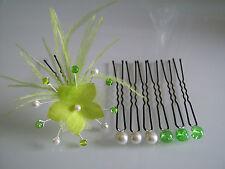 Lot Pic/accessoire Cheveux chignon Mariée/Mariage couleur Ivoire/Vert Anis fleur