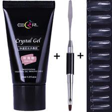 30ml Nail Poly Quick Building Gel Extension Brush W/100Pcs False Tips Nail Art