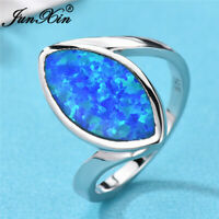 Elegant Marquise Cut White/Blue Fire Opal Wedding Ring 925 Silver Bride Jewelry