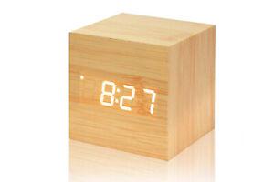 Orologio sveglia digitale legno display led data cubo orologio da tavolo 1293