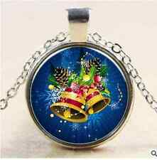 Vintage silver glass Christmas bell pendant convex circle necklace