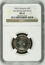 1953 Canada Silver 25C No Shoulder Fold NGC MS62 Unc Strap Quarter Coin TONED