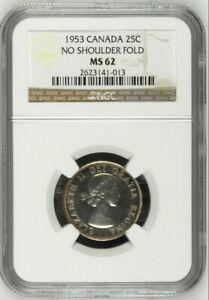 1953 Canada Silver 25C No Shoulder Fold NGC MS62 Unc Strap Quarter Coin TONED