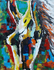 """Abstract Oil Paint Style Girl wall art printed on canvas 22'' X 16"""" solid frame"""