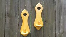 Pair Vintage Wood Wall Sconces Candle Holders