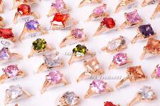 wholesale lots 20pcs 100% Zirconia Engagement Wedding Gold Plate Rings FREE